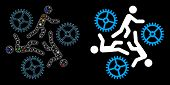 Glossy Mesh Running Persons For Gears Icon With Glare Effect. Abstract Illuminated Model Of Running  poster