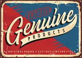 Red Blue Vintage Sign For Certified Genuine Product. Retro Promotional Advertising Poster Design For poster