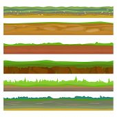 Seamless Different Grounds, Soils And Land Set For Ui Games. Surface Green Soils Grass. Soil Ground  poster