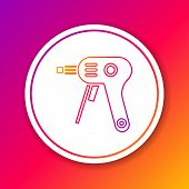 Color Line Electric Hot Glue Gun Icon Isolated On Color Background. Hot Pistol Glue. Hot Repair Work poster