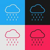 Color Line Cloud With Rain Icon Isolated On Color Background. Rain Cloud Precipitation With Rain Dro poster