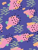 Colorful Abstract Geometric Seamless Vector Pattern. Yellow, Pink, Green Brush Spots With Black Dots poster