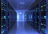 stock photo of telecommunications equipment  - Modern interior of server room in datacenter