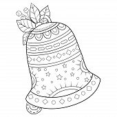 Adult Coloring Book,page A Christmas Bell With Ornaments Image For Relaxing.zen Art Style Illustrati poster