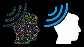 Glossy Mesh Radio Reception Mind Icon With Sparkle Effect. Abstract Illuminated Model Of Radio Recep poster