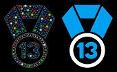 Flare Mesh 13th Place Medal Icon With Sparkle Effect. Abstract Illuminated Model Of 13th Place Medal poster
