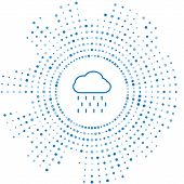 Blue Line Cloud With Rain Icon Isolated On White Background. Rain Cloud Precipitation With Rain Drop poster