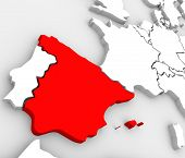 An abstract 3d map of Europe the continent and several countries, with Spain highlighted in red, sur