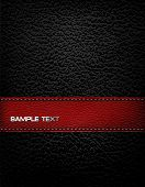 stock photo of stitches  - Black leather background with red leather strip - JPG