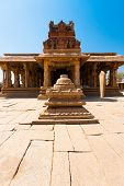image of krishna  - The front courtyard and entrance of the beautiful and ancient stone carved Sri Krishna Temple in Hampi Karnataka India - JPG