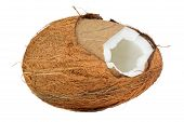 picture of coir  - A cracked coconut isolated on a white background - JPG