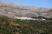 White village in mountains, Parauta, Spain.