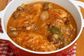 Chicken chasseur, classic French casserole.