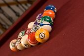 A set of racked billiard balls