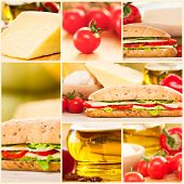 Cheese And Vegetables Sandwich Collage
