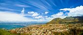 Beautiful coastal city landscape, Capetown, South Africa, high mountains, holiday and vacation conce