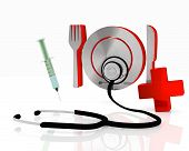 restaurant icon with stethoscope and injection