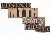 legend, myth, story, fairy tale - isolated word abstract in vintage letterpress wood type printing b