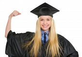 Happy Young Woman In Graduation Gown Showing Biceps
