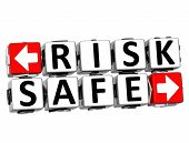 stock photo of fail-safe  - 3D Risk Safe Button Click Here Block Text over white background - JPG