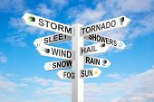 stock photo of hurricane wind  - Weather signpost on blue cloudy sky background - JPG