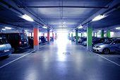 Backlit Indoor Car Parking In Blue Cold Light