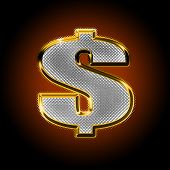 picture of gangster necklace  - Gold money sign of dollar with diamonds on a dark background - JPG