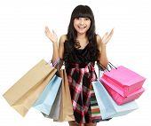 stock photo of boxing day  - Shopping woman very excited - JPG