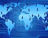 stock photo of electronic commerce  - global communication network connecting people worldwide - JPG