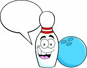 Cartoon bowling pin with a caption balloon