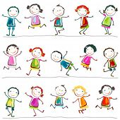 pic of animated cartoon  - group of happy children playing - JPG