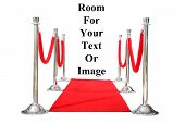 Genuine Hollywood Red Carpet with Red Velvet Ropes and Silver Stantions, isolated on white with room