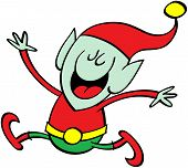 Christmas elf jumping and celebrating
