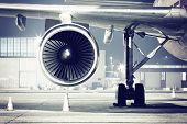 picture of turbines  - a airplane turbine detail evening light - JPG