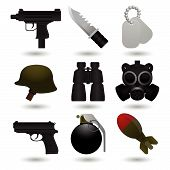 stock photo of uzi  - Set of nine different army icons  - JPG