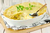 stock photo of mashed potatoes  - Fish and Vegetables Pie Topped with Mashed Potato - JPG