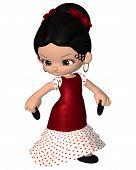 Cute Toon Spanish Flamenco Dancer