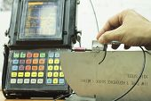 pic of ultrasonic  - Calibration Standard Probe Of Ultrasonic Test in Laboratory - JPG