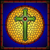 Stained Glass Christian Cross Square Panel