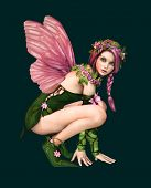 picture of fairyland  - 3d computer graphics of a fairy with butterfly wings - JPG