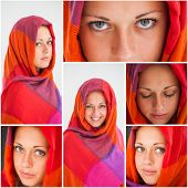 Collage of beautiful girl with gorgeous eyes wearing hijab