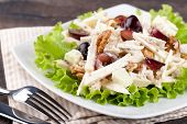 Waldorf salad on a plate