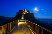 Civita Di Bagnoregio Landmark, Bridge View On Twilight. Italy