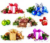 Christmas. Collage of Dufferent Colorful New Year's Gifts and Decorations isolated on White Background. Present Boxes with Baubles , Ribbon, Evergreens, Bow. Various Colors. Art Holiday Design.