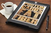 protein, carbs, fat, fiber - dietary components of food -  word abstract in letterpress wood type on