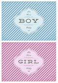 Vector birth announcement template set for boy and girl baby. Great for invitations and birth announcements.