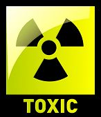 image of gamma  - Toxic Hazard sign on a yellow background - JPG