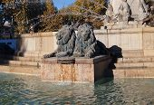 Lions Of Fountain Rotonde (1860). Aix-en-provence, France