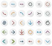Vector illustration of plain round arrow icons. Flat design.