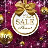 Paper sale golden christmas balls over purple winter abstract background. Vector illustration with s